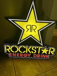 """Rockstar Energy Drink Led Light Up Bright Neon Sign 30"""" Tall X 28"""" Wide And Cord"""