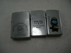 Lot Of 3 Vintage Zippo Lighters Advertising Used T