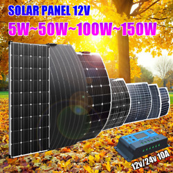 Flexible Solar Panel Phone Battery Kit 150w 100w 50w Complete Car Rv Camping