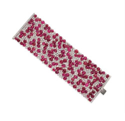 Cluster Statement Bracelet Fine 925 Sterling Silver Flexible Ruby Cabochon And Cz