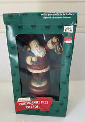 Vintage Mr. Christmas Twirling Santa Animated Tree Top Topper Table Piece Works