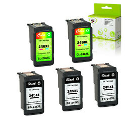 3x Pg245xl+2x Cl246xl Black Color Ink For Canon Pixma Mg2920 Mg2922 Mg2924 Mx492