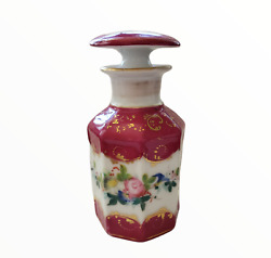Antique Sevres Style French Porcelain Perfume Decanter Vanity Jars Collectible