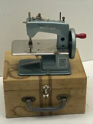 Vintage Blue Baby Brother Toy Sewing Machine With Box