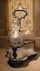 Antique Silverplate Over Copper Cut Crystal 3 Decanter Tantalus Liquor Caddy