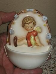 Vintage Mj Hummel Angel Sitting With Bird Holy Water Font 167 Wall Pocket