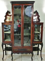 Beautiful Antique Victorian Ornate Carved Mahogany Wood Display China Cabinet