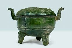 Chinese Han Dynasty 206 Bc-220 Ad Green Glazed Pottery Tripod Censor With Lid