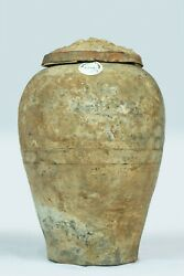 Antique Chinese Earthenware Pottery Jar Urn With Fitted Lid And Faded Glaze