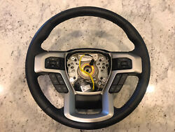 Oem 2017-2021 Ford F-350 F-250 Leather Silver Stitch Steering Wheel Lc3z-3600-ca