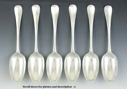 6 Antique 1726 Georgian English Sterling Silver Place Dessert Soup Spoons 8