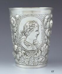 Antique 1662-1691 Rare German .800 -.900 Silver Beaker Cup By Christian Metze