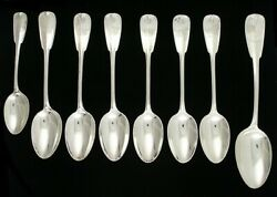 8 Antique And Co Palm 1871 Sterling Silver Shell Place Table Spoons