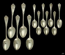 12 Antique And Co Sterling Silver 5 Serving Spoons 7 Teaspoons Set