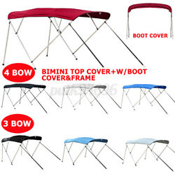 Boat Bimini Top 3 Bow / 4 Bow Canopy Cover 6ft / 8ft Long W/ Frame And Boot Cover