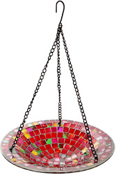 Lily's Home Hanging Colorful Mosaic Glass Bird Bath Bowl - 11 Diameter. Red