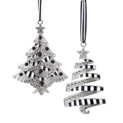 Set of 2 Black and White Tree With Stones Ornaments D3971 w