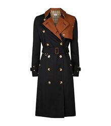 New Womans 2 Tone Cotton Gabardine Trench Size 4 Us