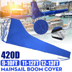 Main Sail Cover For 9and039-10and039 11and039-12and039 12and039-13and039 Boom Sail Waterproof 420d Oxford Blue