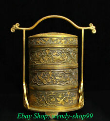 10 Old Chinese Silver Copper 24k Gilt Dynasty Flower Crane Portable Food Box
