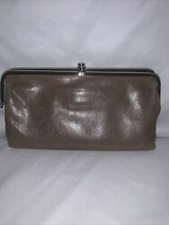 HOBO #x27;Lauren#x27; Leather Double Frame Kiss Lock Clutch Wallet Taupe Gray EUC $55.00