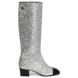 63598 Auth Silver Glitter 2017 Milk Way Runway Boots Shoes 38.5