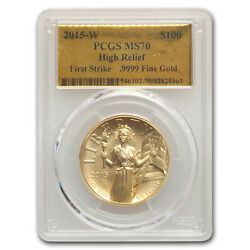 2015-w High Relief American Liberty Gold Ms-70 Pcgs Fs Gold Lab - Sku206161