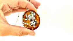 Ox Cow Bull Silver Pendant On Natural Amber Plate Oval Shape Gold Plated Gift