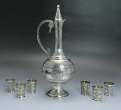 Late 1800s/early 1900s Fantastic Turkish Silver Decanter / Ewer And 6 Cups Set