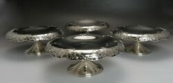 4 Vintage And Co Sterling Silver Floral Design Compotes Or Tazzas