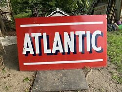 Atlantic Porcelain Double Sided Gas Oil Sign Beautiful Condition Please Read