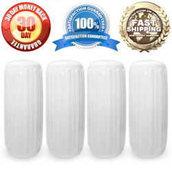 10 X 28 Boat Docking Inflatable Fenders 4x White Vinyl Dock Guard Center Hole