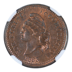 1863 Civil War Token For Public Accommodation Ngc Ms66rb