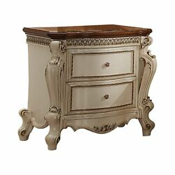 Benzara-two Drawer Nightstand With Cabriole Legs Antique Pearl And Cherry Oak