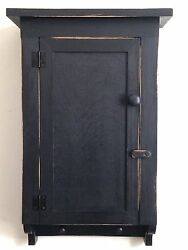 New Handcrafted Primitive Country Rustic Distressed Black Bath/wall Cabinet
