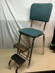 Vintage Metal Folding Step Stool Padded Cloth Seat Kitchen Stool Youth Chair