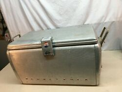 Vintage 1950and039s Pepsi Cola Aluminum Cooler Ice Box Chest 23in X 13in X13in