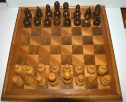 Vintage Wood Inlay Chess Board Folding Storage Box And Carved Wood Game Pieces