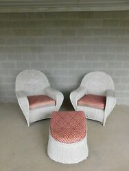 Vintage Art Deco Style Wicker Chairs And Ottoman - Set