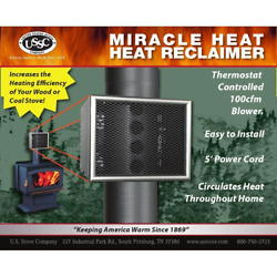 Us Stove Black Steel Miracle 6 Wood Stove Heat Reclaimer Fan Blower Automatic