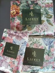 Set 4 New Allison 11 Floral Queen Fitted Flat 2 Pillowcases Ruffled