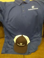 Smith And Wesson Blue Hat And Polo Style Shirt Size Medium