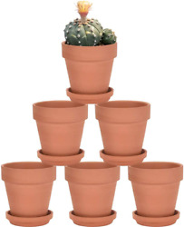 Terra Cotta Pots With Saucer - 6 Pack 5 Inch Clay Pot Ceramic Pottery Planter