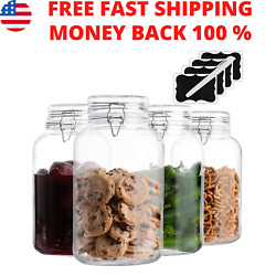 1 Gallon Glass Jars With Lids Mason 4 Pack Airtight Clear Kitchen Containers