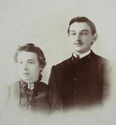 Antique Salvation Army Couple Cabinet Photo Pin Brooch Uniform Brooklyn Ny 1890s