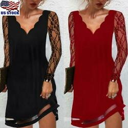Womens Lace Long Sleeve Midi Dress Ladies V Neck Cocktail Evening Party Dress US $29.19