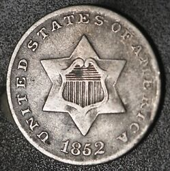 1852 Three Cent Silver Piece 3andcent Better Grade