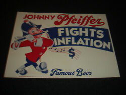 Johnny Pfeiffer Fights Inflation Famous Beer Original Cardboard Standup Sign
