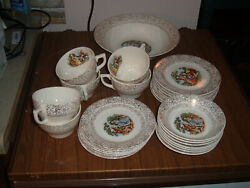 Vintage Cronin China Colonial Couple And Gold Dish Set Union Pottery Minerva, Oh