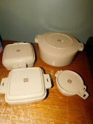 Four Pieces Of Littonware 5 Qt Dutch Oven, 1 Qt, 1-1/2 Qt And 2 Cup Nice
